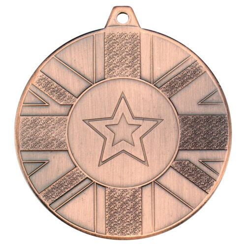 UNION FLAG MEDAL (1in CENTRE) - BRONZE 2in