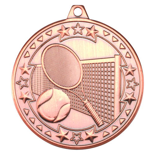 TENNIS 'TRI STAR' MEDAL - BRONZE 2in