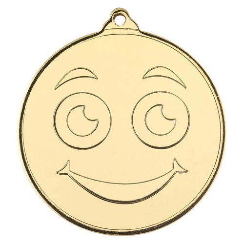 SMILEY FACE GOLD MEDAL - 2in